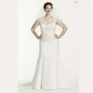 NWT Jewel Cap Sleeve Satin Wedding Dress Size 20W
